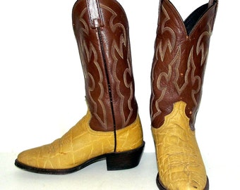 Mustard Yellow and Brown Dan Post Cowboy Boots mens size 7 D / womens size 8.5