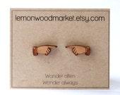 Pointer earrings - alder laser cut wood earrings