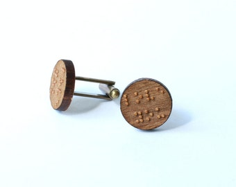 """Braille """"love you"""" cufflinks and tie tack/lapel pin set"""