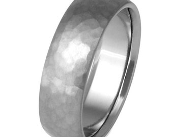 Hammered Titanium Wedding Band - Custom Titanium Ring - n22