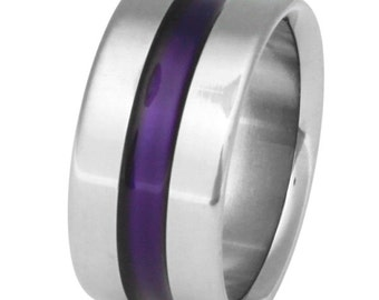 Wide Purple Titanium Band - Purple Ring - Wedding Band