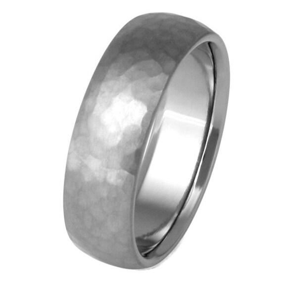 Hammered Titanium Wedding Band - Custom Titanium Ring - n22