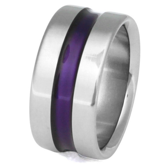 Wide Purple Titanium Band - Purple Ring - Wedding Band