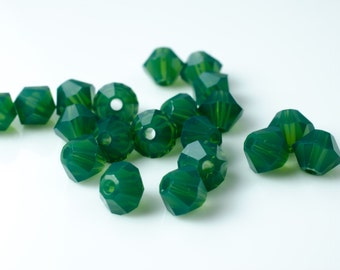 Palace Green Opal Bicone Crystal Beads