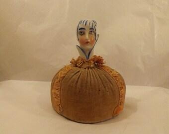 FREE SHIPPING RARE pincushion pin cushion half doll vintage art deco (Vault 12)