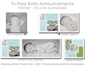 """25 Tri-Folds • Baby Boy's Birth Announcements • """"Wonder"""" • Professionally Printed on Card Stock • Envelopes Included"""