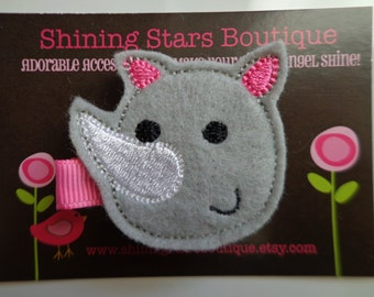 Felt Hair Clips - Felt Rhinoceros Hair Clippie - Gray And Hot Pink Embroidered Rhino Boutique Clip For Girls - Zoo Animal