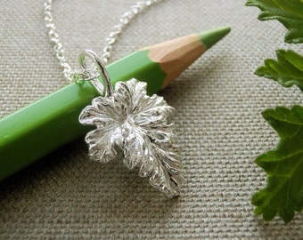 Rose Scented Geranium Leaf Jewelry - Pure Silver Real Leaf Pendant, Herb Jewelry, Botanical Jewelry, Gardeners Gift