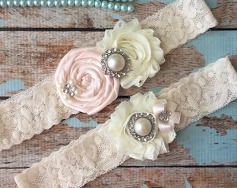 Wedding garter / Pale Blush  /YOU DESIGN / wedding garters/ bridal  garter/  lace garter / toss garter / vintage lace garter