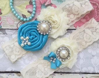 Turquoise wedding garter / bridal  garter/  lace garter / toss garter /  garter / vintage inspired lace garter