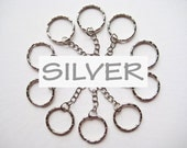 10 pcs of 5.3 cm 53 mm 2.125 inch long Silver Tone Key Chains Keychain round split Rings keyring loop for any craft, diy, creative projects