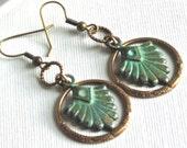 Art Deco Brass Hoop Earrings - Art Deco Style, Patina Earrings, Verdigris Jewelry