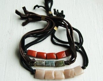 Leather Nugget Bracelet in Assorted Semiprecious Stones - Geologic Record Series