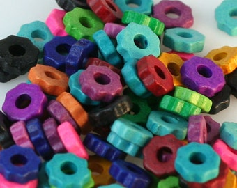 100 Bright Color Mix Greek Matte Ceramic 6mm GEAR Shaped Beads - Large Holed Bead