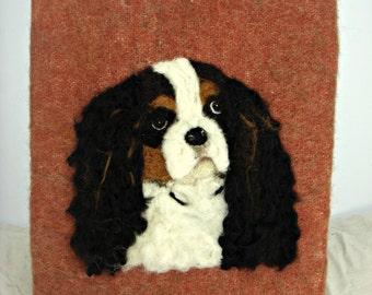 Tri  Color King Charles Spaniel, needle felt painting,needle felt dog, Fiber Art, Custom Pet