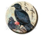 "Pocket Mirror, Magnet or Pinback Button - Shower Favors, Bridesmaid, Wedding - 2.25""- Couple of Ravens MR267"