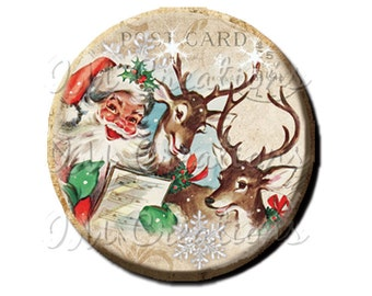 "Pocket Mirror, Magnet or Pinback Button - Favors - 2.25""- Vintage Christmas Santa Reindeer Caroling MR303"