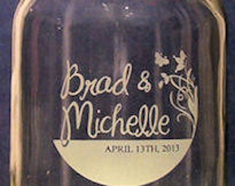 51-75 Wedding Hand Etched Mason Jars. four dollars  each...must order at least 51 for this price.