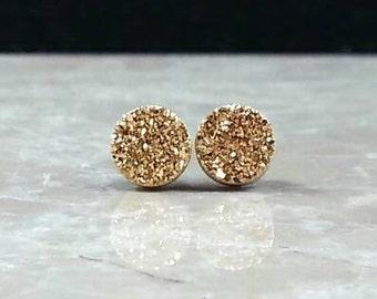 "Tiny 8mm (1/3"") Round Gold Druzy Drusy Post Stud Earrings with Titanium Nickel Free Titanium Posts"