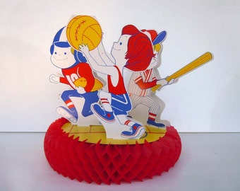 1980s Our Gang Sports Table Centerpiece Party Decoration Honeycomb Baseball Football Basketball Little Boys