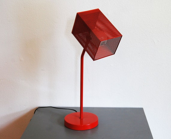 Mid century desk lamp table lamp eames modern red by for Eames lampe