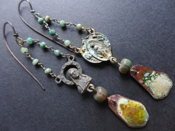 Acatalepsy. Long rosary center earrings with torch enamel in green. Victorian tribal assemblage.