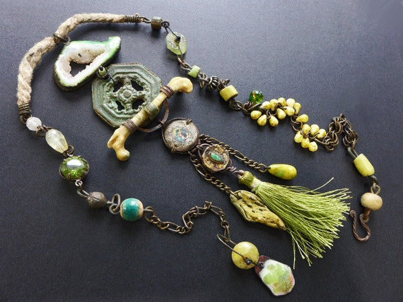 Ode to Spring. Chartreuse green rustic assemblage necklace.