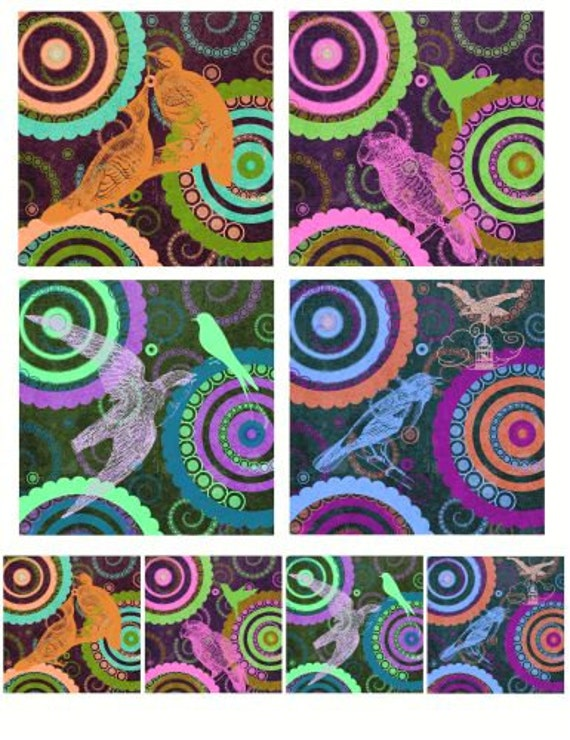 "Deco birds silhouettes printable art bird clip art clipart collage sheet download 3.8"" x 3.8"" squares digital graphics crafts scrapbooking"