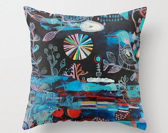 Bird Pillow cover Black Blue Red Sofa pillow, modern abstract printed from original painting