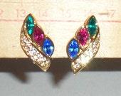 Vintage Clip On Earrings - Rhinestone Earrings - Colorful Earrings - Fancy Clip On Earrings - Red Blue Green Earrings - Faux Diamonds