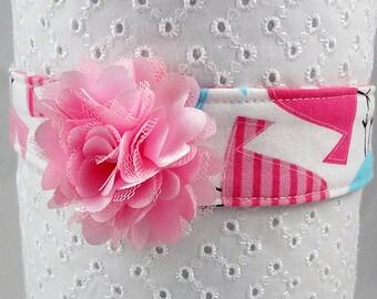 Flowered headband, shabby chic headband, baby girl headband, toddler photo prop accessory, bird fabric cotton flower pastel baptism wedding