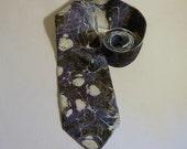 Reserved R. Lipe Men's Neck Tie 100% Silk, Black Space and White Stars - MM-Stars#15