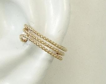 Ear Cuff Gold Non-pierced Cartilage Wrap Earring Fake Conch No Piercing Cuff Earring Simple Earcuff  Earring Faux Pierced Triple Bead ETBWGF