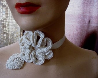 Collar Medallion Neck Piece Fiber Necklace Bride's Wedding Embellishment Cotton Crocheted Flower Choker or Sash w Ribbon Ties Ready to Ship