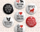 """Boston Terrier Magnet Set of 7 - Perfect for Changeable Magnetic Jewelry or Office or Refrigerator - 1"""" Magnets One Inch"""