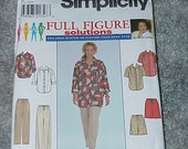 Simplicity Sewing Pattern 8173--Full Figure Solutions--Size GG 26W-32W--Shirts--Pants--Shorts--Uncut--Unused