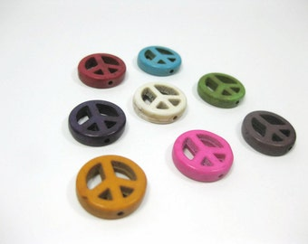 Howlite Peace Sign Beads set of 8