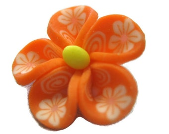 Orange Polymer Clay Flowers 20mm Beads Set of 4