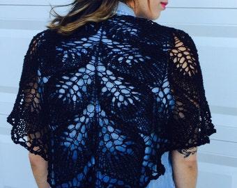 black leaves shawl, cotton, linen
