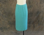 CLEARANCE SALE vintage 50s Knit Skirt - 1950s Baby Blue Ribbed Pleated Dalton Wool Skirt Sz XL