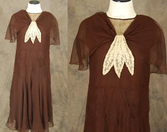 vintage 30s Silk Dress - Brown Silk Chiffon Cape Capelet Dress 1930s Art DecoDress Sz XS
