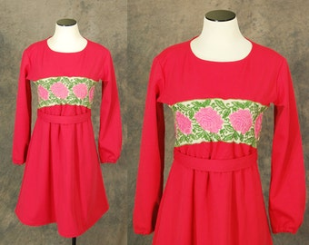 vintage 60s Red Dress - Floral Embroidered Dress - 1960s Folk Dress Sz M