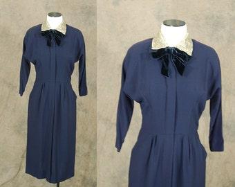 vintage 40s Dress - 1940s Navy Blue Beaded Wiggle Dress Sz S