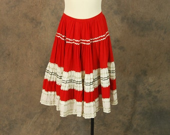 vintage 50s Circle Skirt - Red and White Squaw Patio Skirt 1950s Country Western Skirt Sz XS S