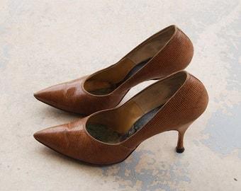 vintage 50s High Heels - Brown Lizard Reptile Leather Stilettos 1950s Shoes Sz 7.5 8 38 39