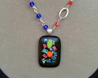 WILD AND WONDERFUL necklace, fused glass, crystals, color on black, abstract painting
