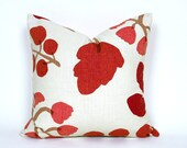 Cream Red Pillows, Contemporary Throw Pillows, Large Red Berries Leaves, Cream White Cushion Cover, 12x18 Lumbar, 16,18, 20, Custom Sizes