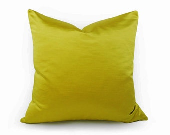 Solid Chartreuse Pillow, Vibrant Yellow Green Pillow Cover, Green Throw Pillow, Saturated Hues Iridescent Shimmer, Lumbar 12x18 18x18, 20x20