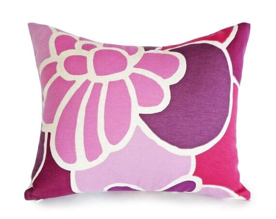 Purple Pink Pillow Covers, Purple Throw Pillow, Plum Mauve Fuchsia, Colorful Floral Pillows, Girls Bedroom Pillow 12x18, 14x18 Lumbar Pillow