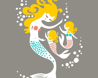 "8X10"" mermaid mother & twin daughters giclee art print on fine art paper. gray, pink, teal blue, blonde"